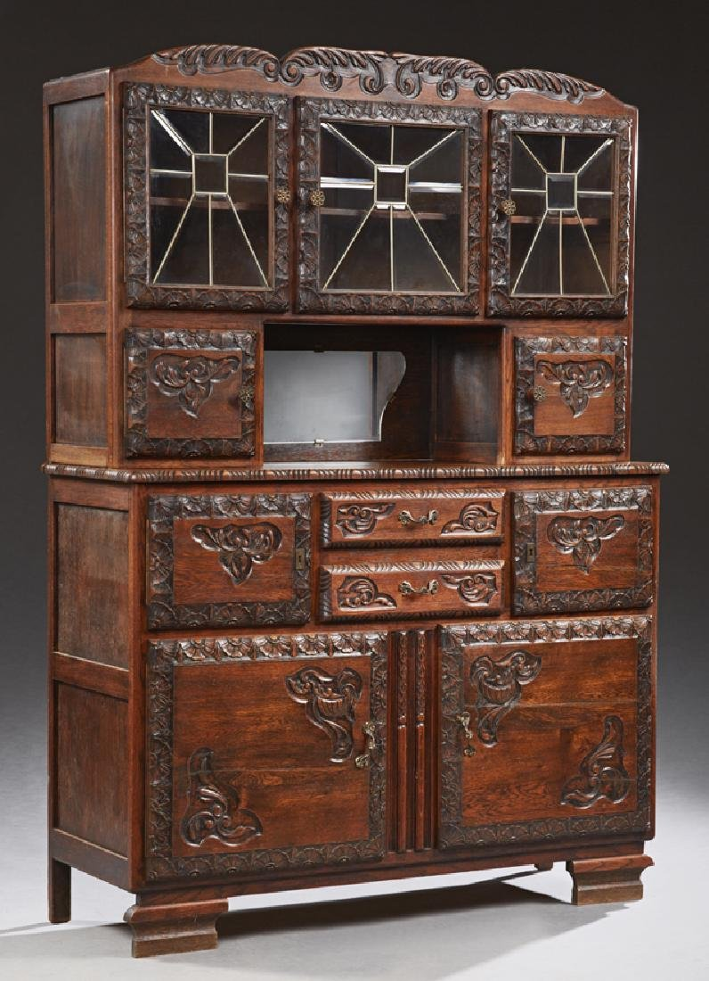 French Carved Oak Buffet a Deux Corps, early 20th c.,