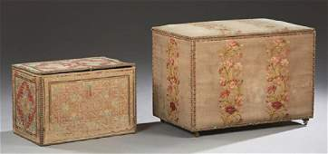 Two French Storage Chests 19th c the larger of