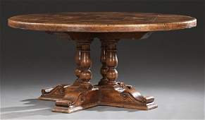 Large Walnut Farmhouse Table, 19th c., the thick