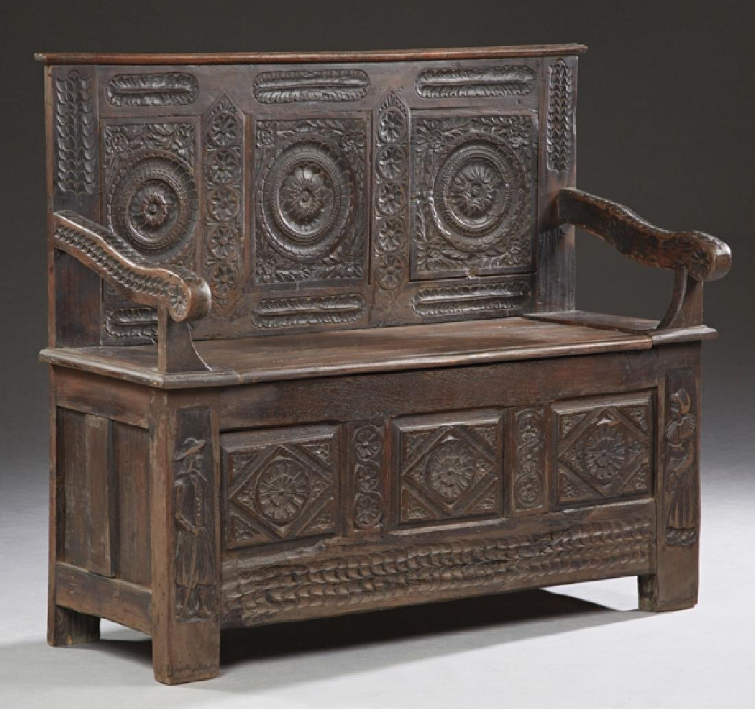 French Carved Walnut Hall Bench, 19th c., Brittany, the