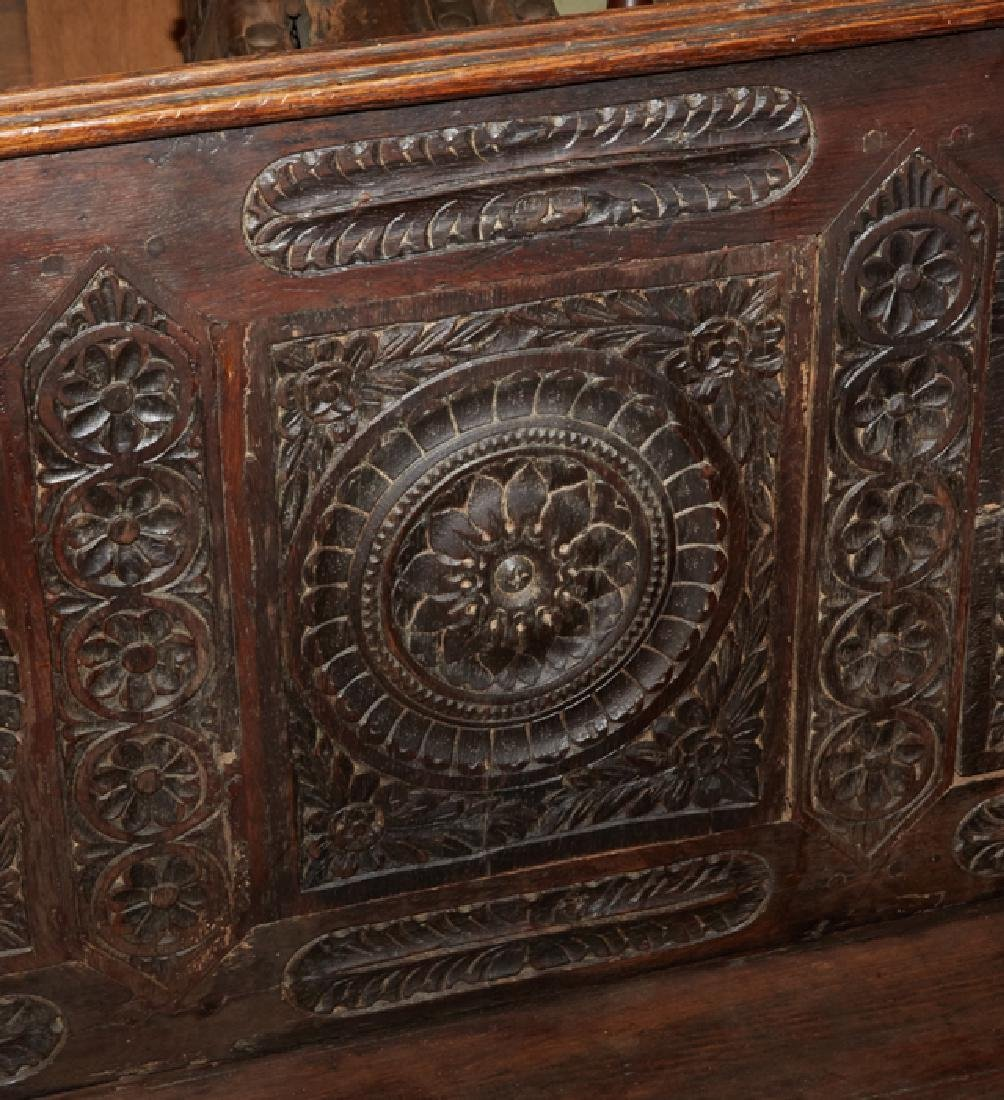 French Carved Walnut Hall Bench, 19th c., Brittany, the - 2