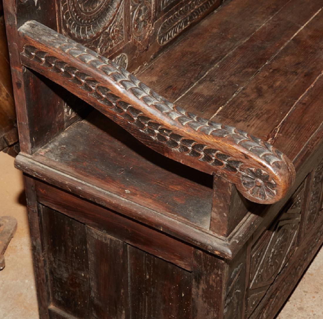 French Carved Walnut Hall Bench, 19th c., Brittany, the - 3