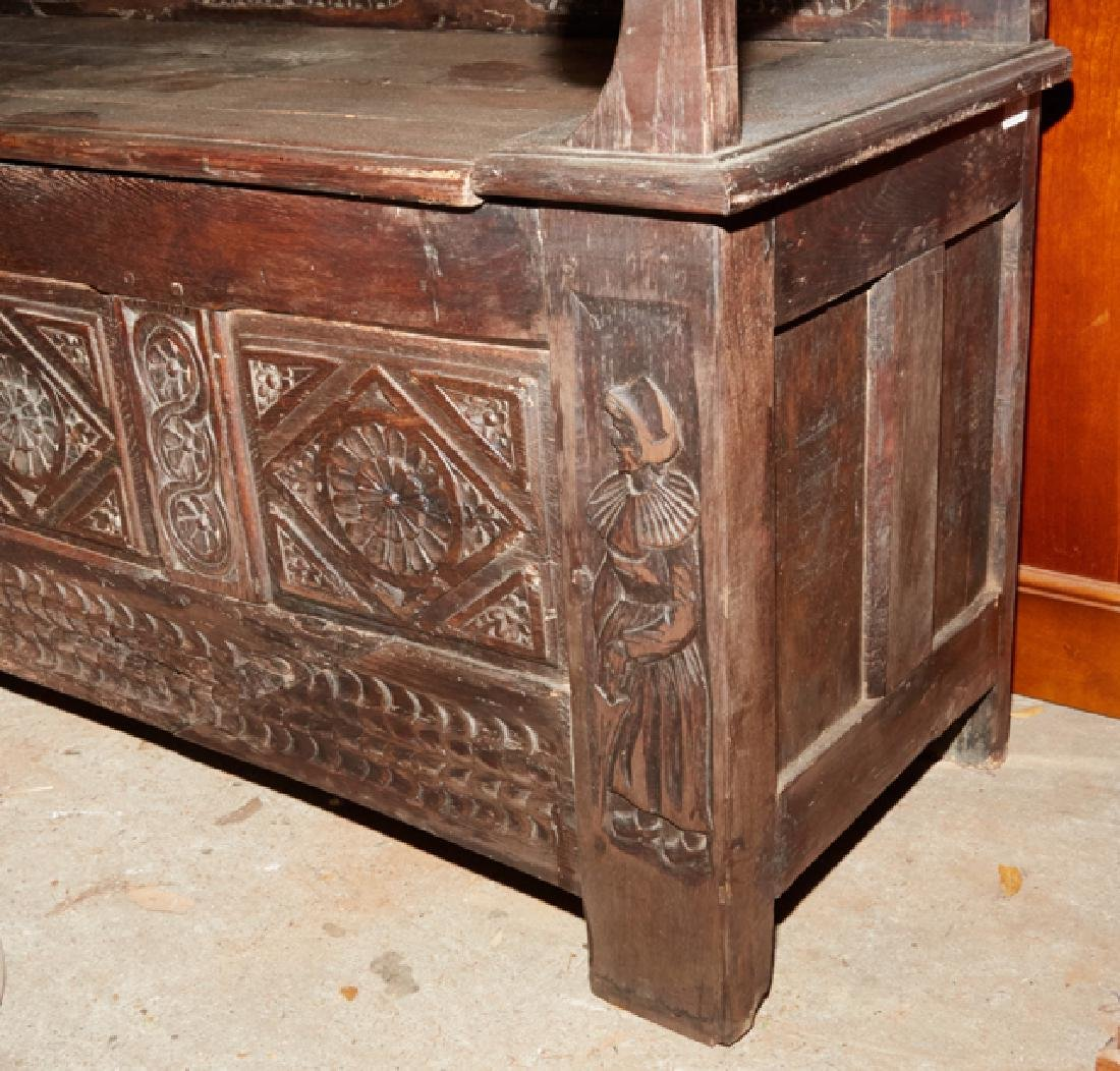 French Carved Walnut Hall Bench, 19th c., Brittany, the - 5