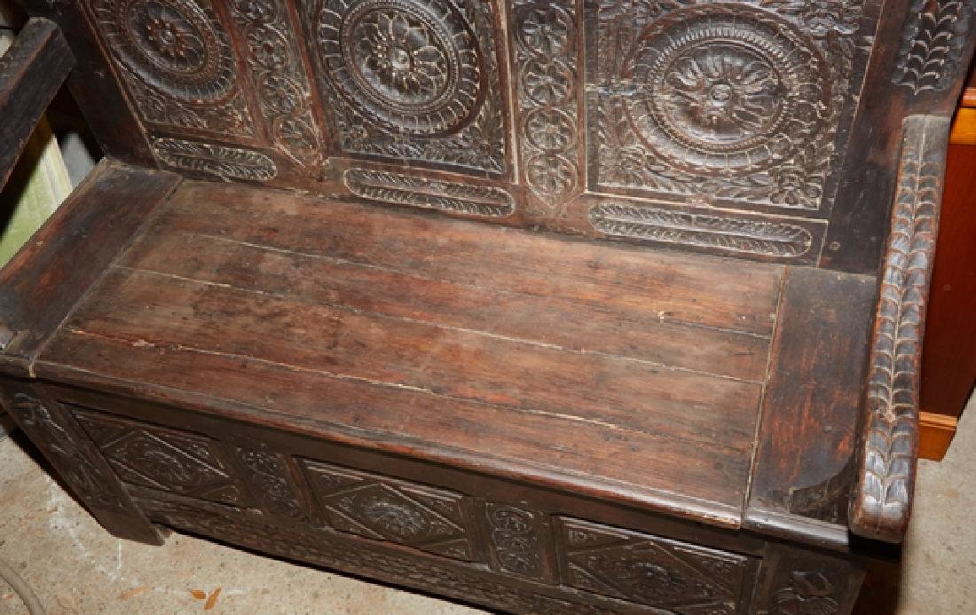 French Carved Walnut Hall Bench, 19th c., Brittany, the - 6