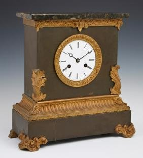 French Gilt and Patinated Spelter Mantel Clock, c.