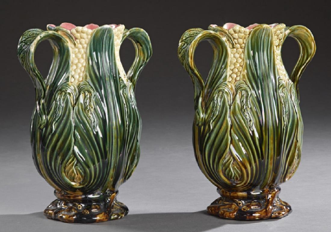 Pair of Large French Majolica Baluster Handled Vases,