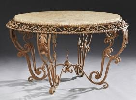 French Wrought Iron Marble top Coffee Table, 20th c.,