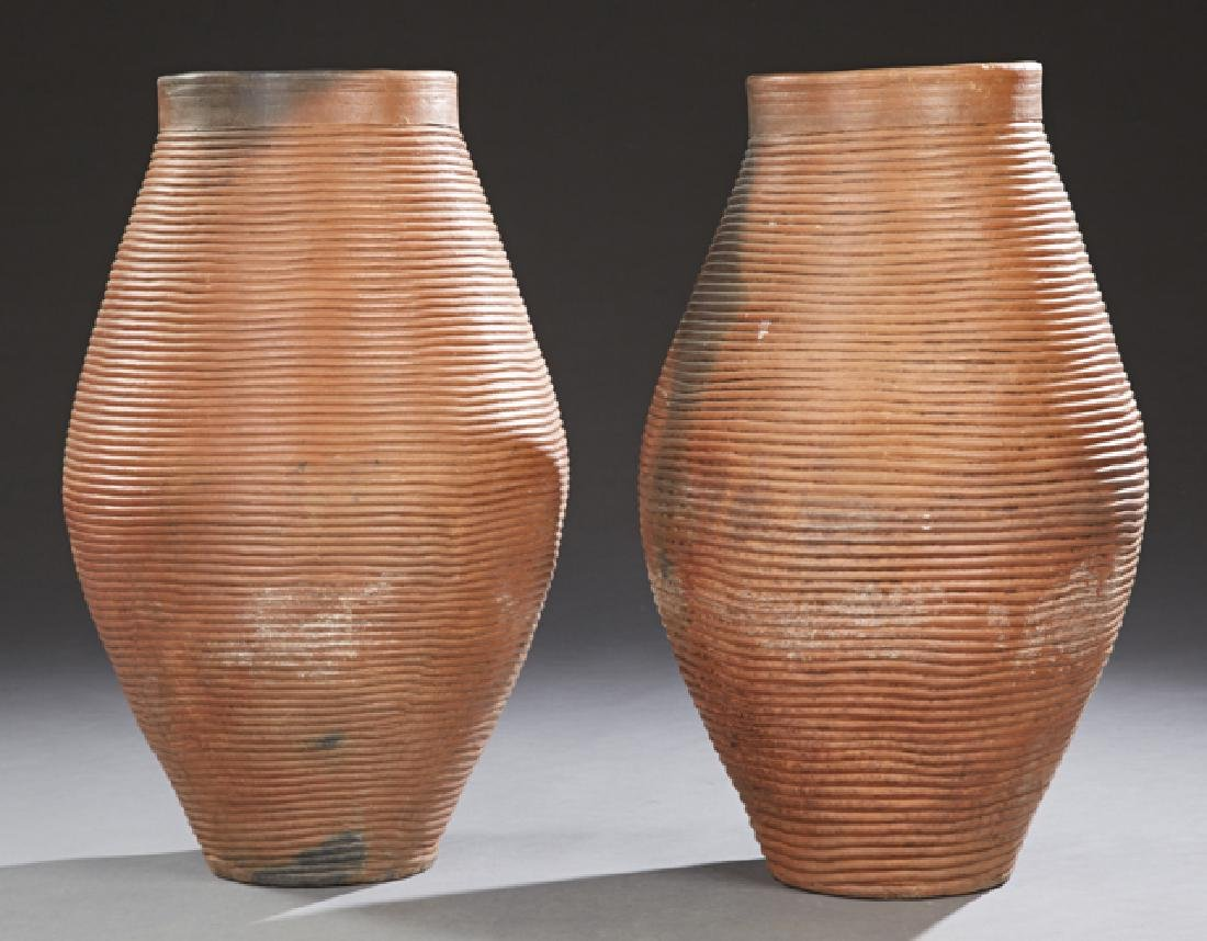 Large Pair of French Terracotta Baluster Garden Jars,
