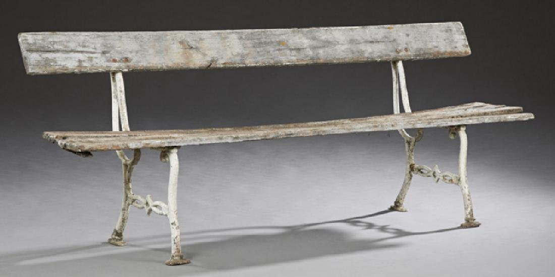French Pine and Cast Iron Garden Bench, early 20th c.,