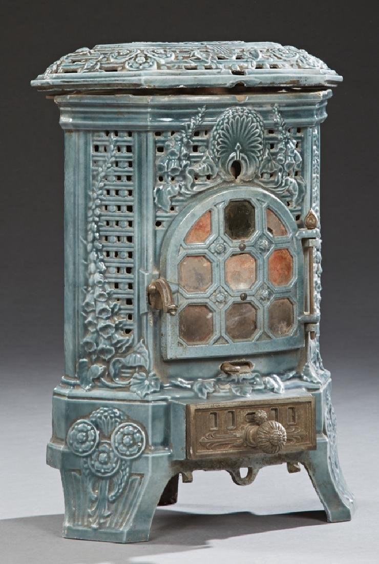 French Blue Enameled Cast Iron Room Heater, 19th c., by