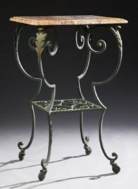 French Wrought Iron Marble Top Two Tier Stand, c. 1870,