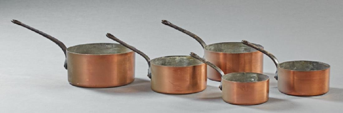 Set of Five French Graduated Copper Sauce Pans, 19th