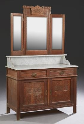 Continental Carved Oak Marble Top Washstand, early 20th