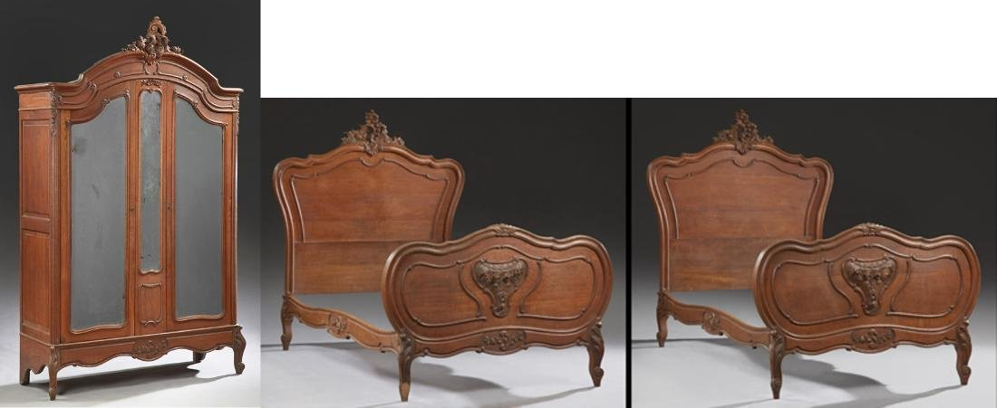 Three Piece French Carved Walnut Louis XV Style Bedroom