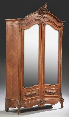 French Louis XV Style Carved Walnut Bombe Armoire,