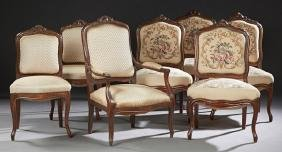 Group of Seven Louis XV Style Carved Walnut Parlor
