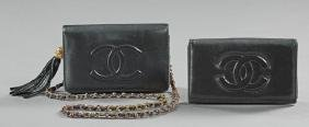 Two Black Leather Chanel Purses, one a shoulder bag