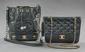 Two Chanel Leather Purses, 20th c., one of black