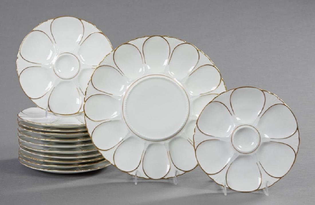 Thirteen Piece Limoges Porcelain Oyster Set, 20th c.,