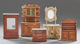 Group of Five Pieces of French Doll House Furniture,