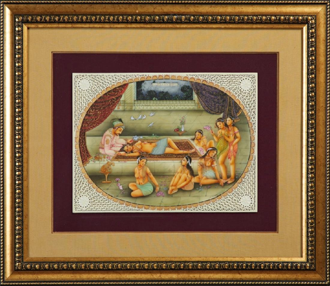 "Indian School, ""The Harem,"" 20th c., oil on pierced"