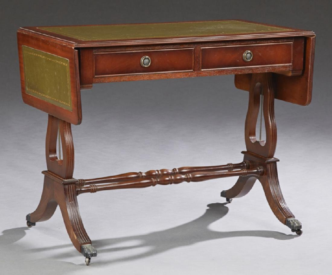 English Carved Mahogany Drop Leaf Writing Table, 20th
