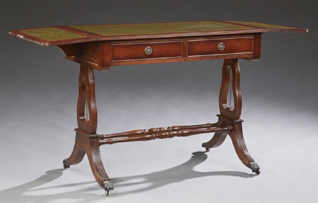 English Carved Mahogany Drop Leaf Writing Table, 20th - 2