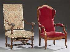 Two French Fauteuils, early 20th c., one a carved