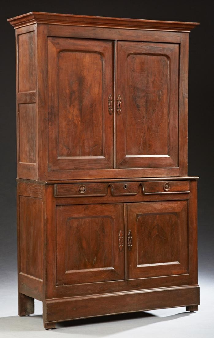 French Carved Cherry Buffet a Deux Corps, 19th c., with
