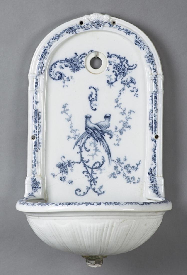 English Porcelain Wall Fountain, early 20th c., by