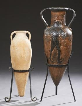 Two Terracotta Handled Amphoras, 20th c., with pointed