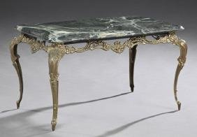 French Marble Top Louis XV Style Brass Coffee Table,