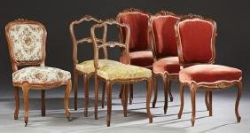 Group of Six French Louis XV Style Carved Walnut Parlor