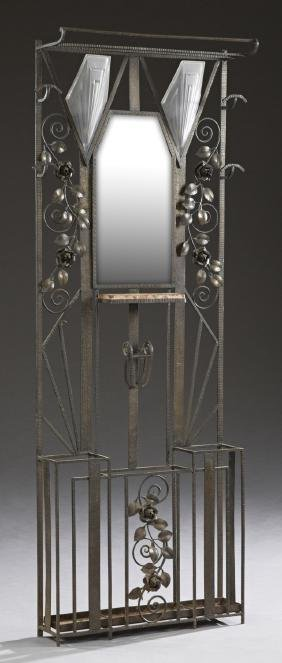 Unusual French Art Deco Wrought Iron Hall Stand, c.