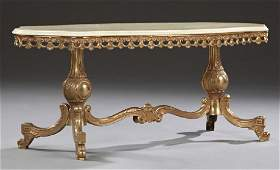 French Louis XV Style Brass Marble Top Coffee Table