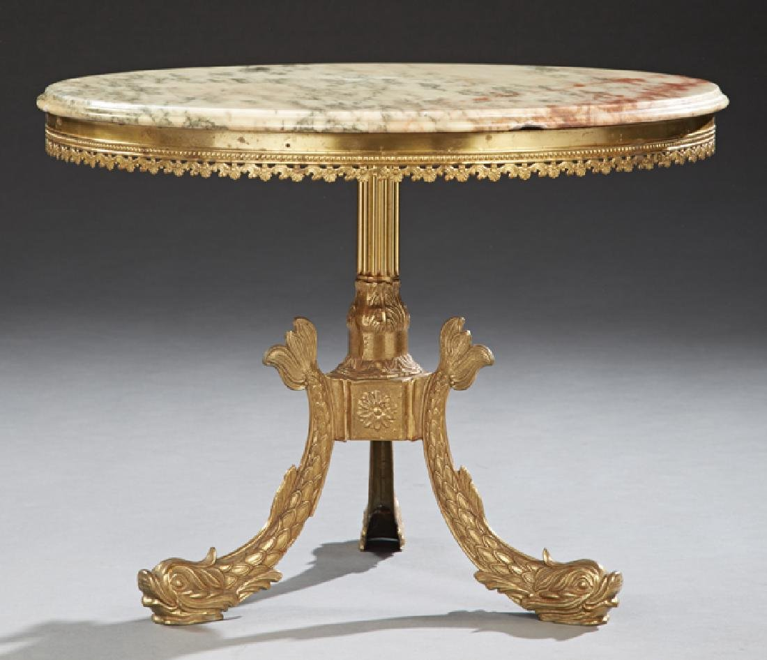 French Empire Style Brass Marble Top Coffee Table, the