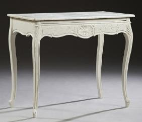 Louis XV Style Polychromed Oak Marble Top Table, early