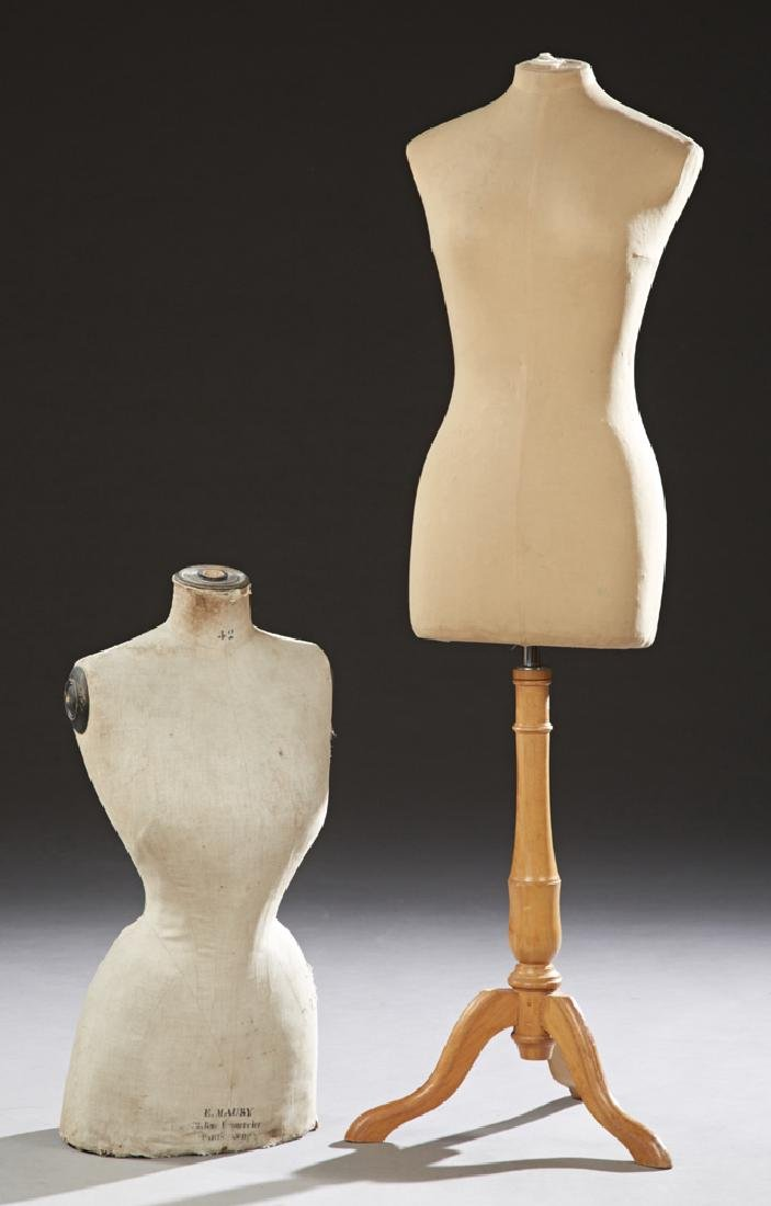 Two French Dressmaker's Forms, early 20th c., one on a