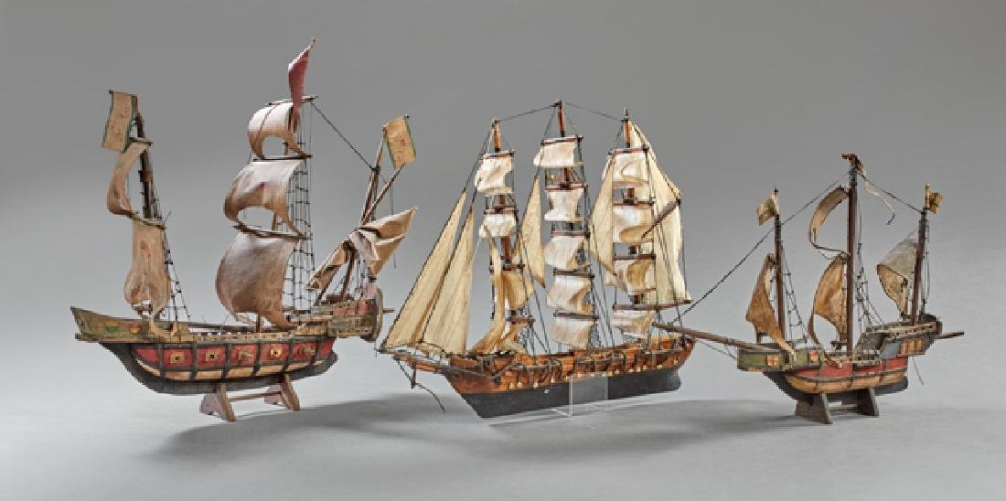 Group of Three Hand Made Model Ships, early 20th c.,