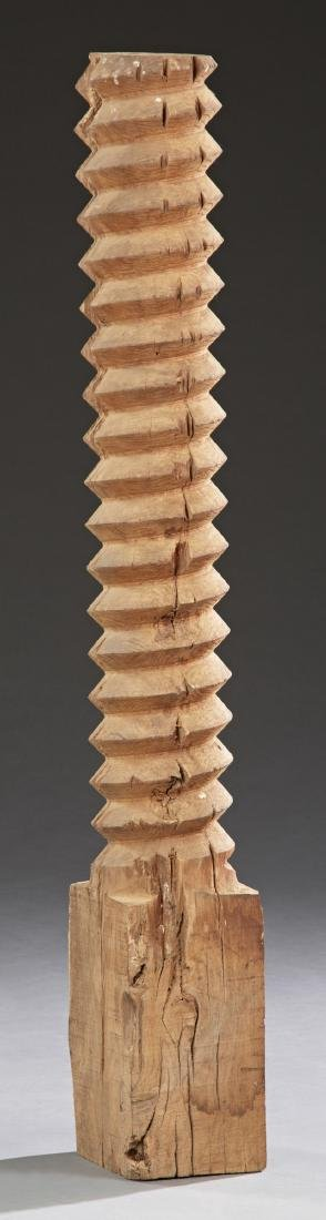 French Provincial Carved Walnut Wine Press Screw, 19th