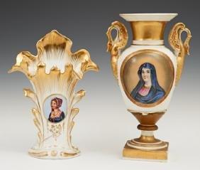 Two Continental Porcelain Portrait Vases, 19th c., one