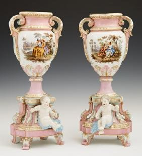 Pair of Continental Porcelain Baluster Urns, late 19th