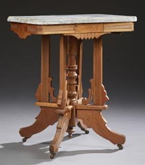 American Marble Top Carved Walnut Eastlake Lamp Table,
