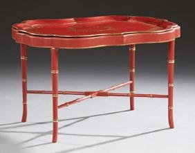 English Red Lacquered Papier Mache Tray, 19th c., with