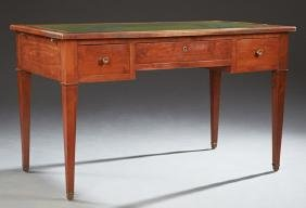 French Louis XVI Style Carved Cherry Desk, early 20th