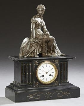 French Black Marble Figural Mantle Clock, c. 1880, of