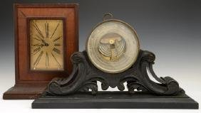 English Brass Aneroid Barometer, 19th c., by J.