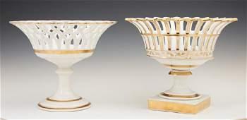 Two Old Paris Porcelain Corbeilles 19th c of