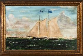 """J. Root, """"Ship in Rough Seas,"""" 1886, oil on panel,"""