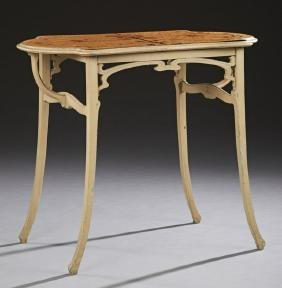 French Art Nouveau Galle Style Carved Beech Inlaid
